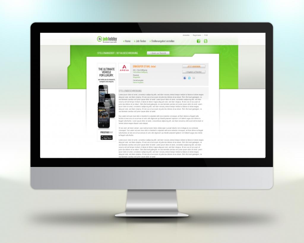 Beispiel Webportal Entwicklung Projekt Joblobby