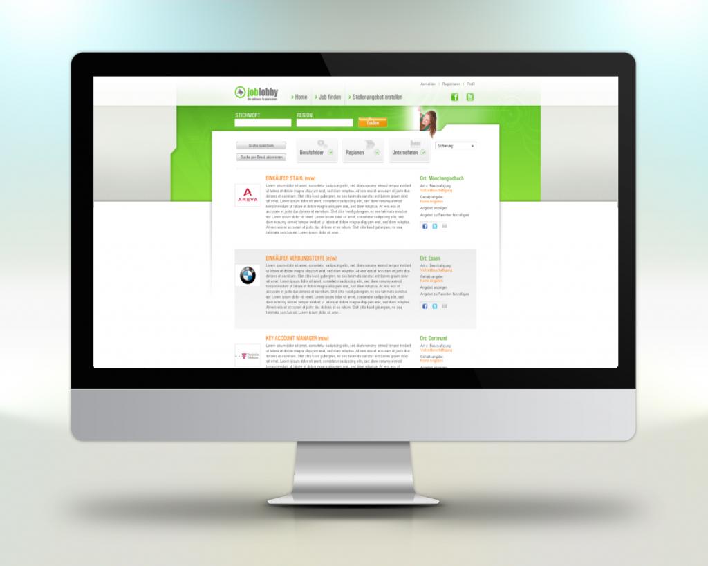 Beispiel Webportal Programmierung Projekt Joblobby
